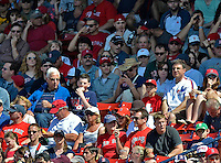10 June 2012: A lone Montreal Expos fan watches play during a game between the Washington Nationals and the Boston Red Sox at Fenway Park in Boston, MA. The Nationals defeated the Red Sox 4-3 to sweep their 3-game interleague series. Mandatory Credit: Ed Wolfstein Photo