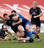 15 January 2021; Ross Kane is tackled by Greg McGrath during the A Interprovincial match between Ulster and Leinster at Kingspan Stadium in Belfast. Photo by John Dickson/Dicksondigital