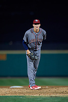 Lehigh Valley IronPigs relief pitcher Tom Windle (27) looks in for the sign during a game against the Rochester Red Wings on September 1, 2018 at Frontier Field in Rochester, New York.  Lehigh Valley defeated Rochester 2-1.  (Mike Janes/Four Seam Images)