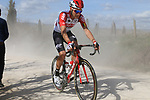 Puncture for Lotto-Soudal on sector 2 Bagnaia during Strade Bianche 2019 running 184km from Siena to Siena, held over the white gravel roads of Tuscany, Italy. 9th March 2019.<br /> Picture: Seamus Yore   Cyclefile<br /> <br /> <br /> All photos usage must carry mandatory copyright credit (© Cyclefile   Seamus Yore)