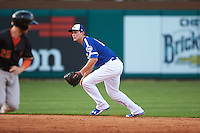Oklahoma City Dodgers shortstop Corey Seager (18) gets in position to catch a line drive during a game against the Fresno Grizzles on June 1, 2015 at Chickasaw Bricktown Ballpark in Oklahoma City, Oklahoma.  Fresno defeated Oklahoma City 14-1.  (Mike Janes/Four Seam Images)