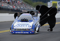 Sept. 17, 2011; Concord, NC, USA: NHRA funny car driver Bob Tasca III during qualifying for the O'Reilly Auto Parts Nationals at zMax Dragway. Mandatory Credit: Mark J. Rebilas-US PRESSWIRE