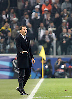 Calcio, andata degli ottavi di finale di Champions League: Juventus vs Bayern Monaco. Torino, Juventus Stadium, 23 febbraio 2016. <br /> Juventus coach Massimiliano Allegri gives indications to his players during the Champions League round of 16 first leg soccer match between Juventus and Bayern at Turin's Juventus Stadium, 23 February 2016.<br /> UPDATE IMAGES PRESS/Isabella Bonotto