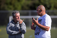 NZ Rugby's Pete Harold and Tiki Edwards on day one of the 2019 Air NZ Rippa Rugby Championship at Wakefield Park in Wellington, New Zealand on Monday, 26 August 2019. Photo: Dave Lintott / lintottphoto.co.nz