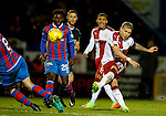 Martyn Waghorn has a shot go narrowly wide of the post