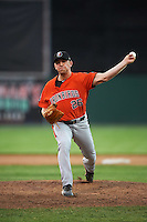 Aberdeen IronBirds relief pitcher Max Knutson (26) delivers a pitch during a game against the Batavia Muckdogs on July 15, 2016 at Dwyer Stadium in Batavia, New York.  Aberdeen defeated Batavia 4-2.  (Mike Janes/Four Seam Images)