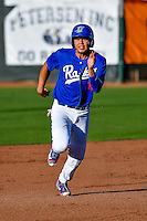 Gersel Pitre (13) of the Ogden Raptors hustles towards third base against the Missoula Osprey in Pioneer League action at Lindquist Field on July 14, 2016 in Ogden, Utah. Ogden defeated Missoula 10-4. (Stephen Smith/Four Seam Images)