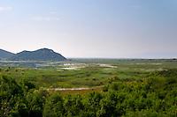 View over the vast lake and marshland Skadarsko Jezero on the border between Montenegro and Albania. Montenegro, Balkan, Europe.