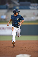Shortstop Andres Gimenez (13) of the Columbia Fireflies runs the bases in a game against the Charleston RiverDogs on Monday, August 7, 2017, at Spirit Communications Park in Columbia, South Carolina. Columbia won, 6-4. (Tom Priddy/Four Seam Images)