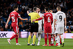 Real Madrid's Sergio Ramos have words with the referee during Copa del Rey match between Real Madrid and Girona FC at Santiago Bernabeu Stadium in Madrid, Spain. January 24, 2019. (ALTERPHOTOS/A. Perez Meca)