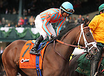 October 04, 2014: Conquest Tsunami and jockey Patrick Husbands in the Claiborne Breeders' Futurity Grade 1 $500,000 at Keeneland Racecourse.  Candice Chavez/ESW/CSM