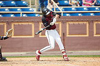 Jordan Varela-Payne (3) of the North Carolina Central Eagles at bat against the North Carolina A&T Aggies at Durham Athletic Park on April 10, 2021 in Durham, North Carolina. (Brian Westerholt/Four Seam Images)