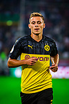 09.08.2019, Merkur Spiel-Arena, Düsseldorf, GER, DFB Pokal, 1. Hauptrunde, KFC Uerdingen vs Borussia Dortmund , DFB REGULATIONS PROHIBIT ANY USE OF PHOTOGRAPHS AS IMAGE SEQUENCES AND/OR QUASI-VIDEO<br /> <br /> im Bild | picture shows:<br /> Einzelaktion Thorgan Hazard (Borussia Dortmund #23), <br /> <br /> Foto © nordphoto / Rauch