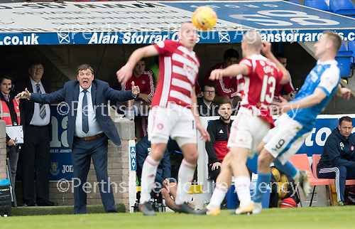 St Johnstone v Hamilton Accies…23.09.17…  McDiarmid Park… SPFL<br />Tommy Wright goes nuts at ref Willie Collum<br />Picture by Graeme Hart. <br />Copyright Perthshire Picture Agency<br />Tel: 01738 623350  Mobile: 07990 594431