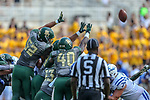 Baylor Bears defensive end Deonte Williams (40) in action during the game between the Duke Blue Devils and the Baylor Bears at the McLane Stadium in Waco, Texas.