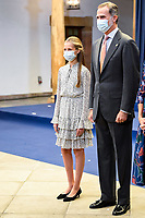 OVIEDO, SPAIN - OCTOBER 16: King Felipe VI of Spain and Crown Princess Leonor of Spain attend an audience to congratulate the winners at the Reconquista Hotel during the 'Princesa De Asturias' Awards 2020 on October 16, 2020 in Oviedo, Spain <br /> CAP/MPI/RJO<br /> ©RJO/MPI/Capital Pictures