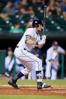 Montgomery Biscuits left fielder Colby Rasmus (28) follows through on a swing during a game against the Mississippi Braves on April 26, 2017 at Montgomery Riverwalk Stadium in Montgomery, Alabama.  Montgomery defeated Mississippi 5-2.  (Mike Janes/Four Seam Images)