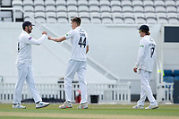 James Vince congratulates Scott Currie, Hampshire CCC following the wicket of Jamie Smith during Surrey CCC vs Hampshire CCC, LV Insurance County Championship Group 2 Cricket at the Kia Oval on 1st May 2021