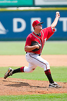 Starting pitcher Chuck Lofgren #29 of the Richmond Flying Squirrels during the game against the Harrisburg Senators at The Diamond on July 22, 2011 in Richmond, Virginia.  The Squirrels defeated the Senators 5-1.   (Brian Westerholt / Four Seam Images)