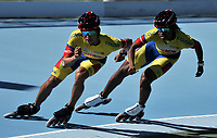 NANJING - CHINA - 23 - 08 - 2017: Manuel Saavedra (Izq.) y Geiny Pajaro (Der.) patinadores de la Selección Colombia, durante entreno en el patinodromo Olimpico de Nanjing en la ciudad de Nainjing en La Republica Popular de China. /  Manuel Saavedra (L) and Geiny Pajaro (R) skaters of the Colombia Team, during a training at the skating rink Olimpic Patinodromo of Nanjing in the city of Nanjing in People's Republic of China. / Photo: VizzorImage / Luis Ramirez / Staff.