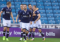 Jed Wallace of Millwall (right) celebrates with Lee Gregory of Millwall after scoring the opening goal during the Sky Bet Championship match between Millwall and Ipswich Town at The Den, London, England on 15 August 2017. Photo by Alan  Stanford / PRiME Media Images.