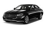 2021 Mercedes Benz E-Class Avantgarde 4 Door Sedan Angular Front automotive stock photos of front three quarter view