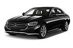 2021 Mercedes Benz E-Class Avantgarde 4 Door Sedan Angular Front automotive stock photos of front three quarter view