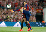 Athletic de Bilbao's Inaki Williams Dannis (l) and FC Barcelona's Sergio Busquets during Spanish King's Cup Final match. May 30,2015. (ALTERPHOTOS/Acero)