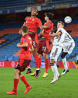 6th August 2020, Basel, Switzerland. UEFA National League football, Switzerland versus Germany;   Manuel Akanji (Sui), Loris Benito (Sui), Matthias Ginter (ger) and Antonio Ruediger (Ger) compete for the corner cross
