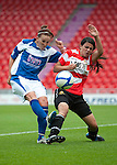 Doncaster Rovers Belles (red/white) v Birmingham City Ladies (blue) in The FA Women's Super League (The FA WSL) at the Keepmoat Stadium, Doncaster 28/08/11