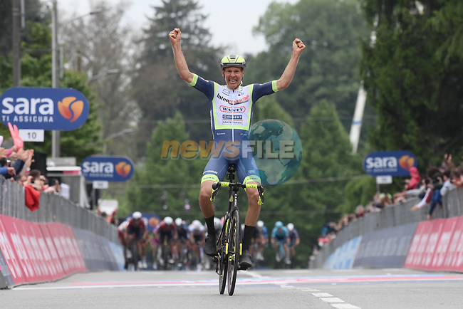 Taco Van Der Hoorn (NED) Intermarche-Wanty-Gobert-Materiaux from the breakaway wins Stage 3 of the 2021 Giro d'Italia, running 190km from Biella to Canale, Italy. 10th May 2021.<br /> Picture: LaPresse/Gian Mattia D'Alberto | Cyclefile<br /> <br /> All photos usage must carry mandatory copyright credit (© Cyclefile | LaPresse/Gian Mattia D'Alberto)