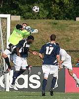 04 September 2009:Andrew Quinn #0 and Bright Dike #9 of the University of Notre Dame keep the ball from Justin Lichtfuss #4 of Wake Forest University during an Adidas Soccer Classic match at the University of Indiana in Bloomington, In. The game ended in a 1-1 tie..