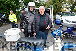 Gerry McCarthy and Gerry Murphy doing their running repairs before the Honda 50 Run for the Kerry Hospice in Boolteens on Sunday.