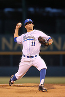 James Kaprielian (11) of the UCLA Bruins pitches during a game against the Vanderbilt Commodores at Jackie Robinson Stadium on March 06, 2015 in Los Angeles, California. Vanderbilt defeated UCLA, 6-0. (Larry Goren/Four Seam Images)