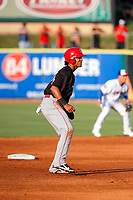 Chattanooga Lookouts shortstop Jose Barrero (34) on base against the Tennessee Smokies at Smokies Stadium on June 18, 2021, in Kodak, Tennessee. (Danny Parker/Four Seam Images)