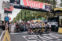Team SKY posing at the finish line after having won their 6th Tour de France in 7 years<br /> <br /> Stage 21: Houilles > Paris / Champs-Élysées (115km)<br /> <br /> 105th Tour de France 2018<br /> ©kramon