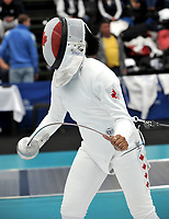 BOGOTA – COLOMBIA – 27 – 05 – 2017: Malinka Montanaro, de Canada, durante Damas Mayores Epee del Gran Prix de Espada Bogota 2017, que se realiza en el Centro de Alto Rendimiento en Altura, del 26 al 28 de mayo del presente año en la ciudad de Bogota.  / Malinka Montanaro, from Canada, during Senior Women´s Epee of the Grand Prix of Espada Bogota 2017, that takes place in the Center of High Performance in Height, from the 26 to the 28 of May of the present year in The city of Bogota.  / Photo: VizzorImage / Luis Ramirez / Staff.