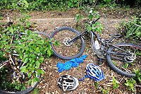 Bikes lie beside the course during the first round of the 2014 New Zealand National Cross-country Mountainbiking Championships at Mount Victoria, Wellington, New Zealand on Sunday, 19 January 2014. Photo: Dave Lintott / lintottphoto.co.nz