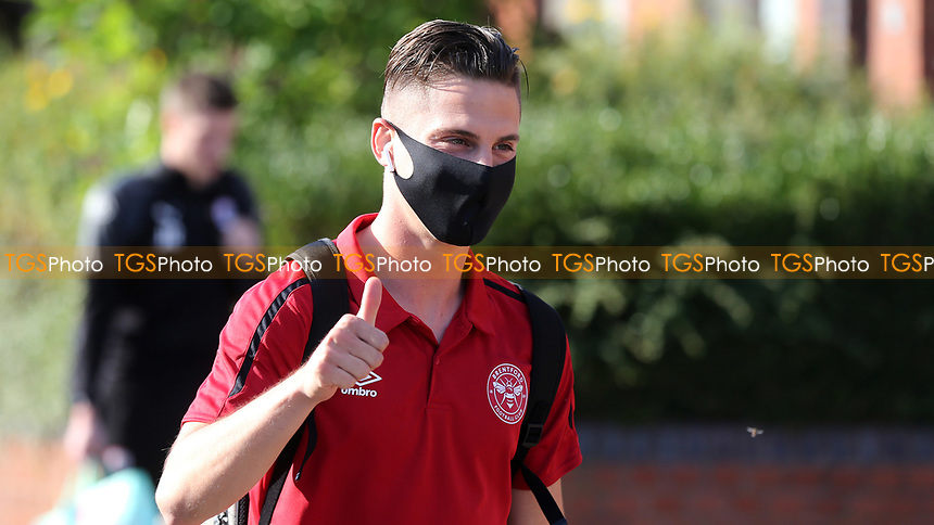 Sergi Canos of Brentford arrives at the ground wearing his face mask ahead of kick-off during Brentford vs Barnsley, Sky Bet EFL Championship Football at Griffin Park on 22nd July 2020