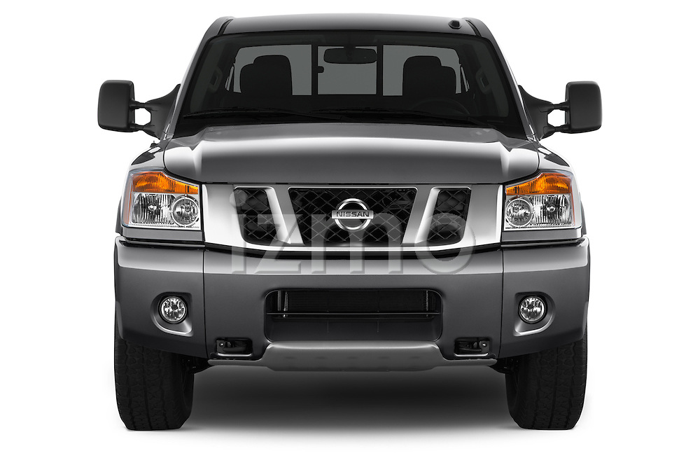 Car photography straight front view of a 2014 Nissan Titan PRO 4-X King Cab 2WD 2 Door Truck Front View