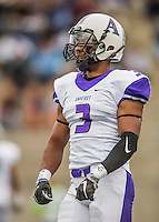 8 October 2016: Amherst College Purple & White Defensive Back Derek Ward, a Senior from Griswold, CT, prepares for a play during action against the Middlebury College Panthers at Alumni Stadium in Middlebury, Vermont. The Panthers edged out the Purple & While 27-26. Mandatory Credit: Ed Wolfstein Photo *** RAW (NEF) Image File Available ***