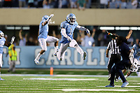 CHAPEL HILL, NC - SEPTEMBER 07: Myles Dorn #1 of the University of North Carolina celebrates the game-winning stop of Miami during a game between University of Miami and University of North Carolina at Kenan Memorial Stadium on September 07, 2019 in Chapel Hill, North Carolina.