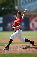 Kannapolis Intimidators starting pitcher Jonathan Stiever (20) in action against the Delmarva Shorebirds at Kannapolis Intimidators Stadium on May 19, 2019 in Kannapolis, North Carolina. The Shorebirds defeated the Intimidators 9-3. (Brian Westerholt/Four Seam Images)