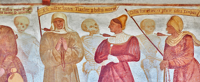 """The Church of San Vigilio in Pinzolo and its fresco paintings """"Dance of Death"""" ( Danza macabra)  painted by Simone Baschenis of Averaria in1539, Pinzolo, Trentino, Italy.<br /> <br /> Noble Women pierced with an arrow from the skeletons that are either side of him and represent dead."""