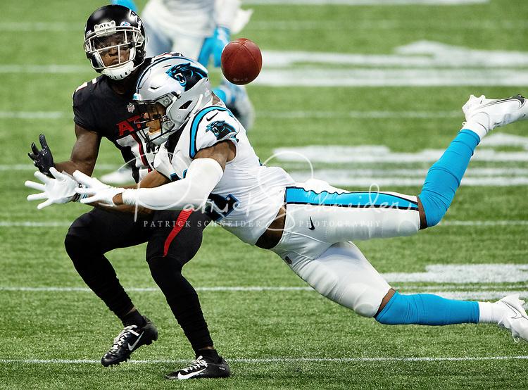 Photography of The Carolina Panthers v. The Atlanta Falcons,Sunday afternoon October 11, 2020 at Mercedes-Benz Stadium in Atlanta, GA.<br /> <br /> Charlotte Photographer - PatrickSchneiderPhoto.com