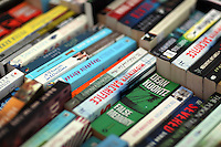 Monday 26 May 2014, Hay on Wye, UK<br /> Pictured: Stacks of old books in the Oxfam book store.<br /> Re: The Hay Festival, Hay on Wye, Powys, Wales UK.