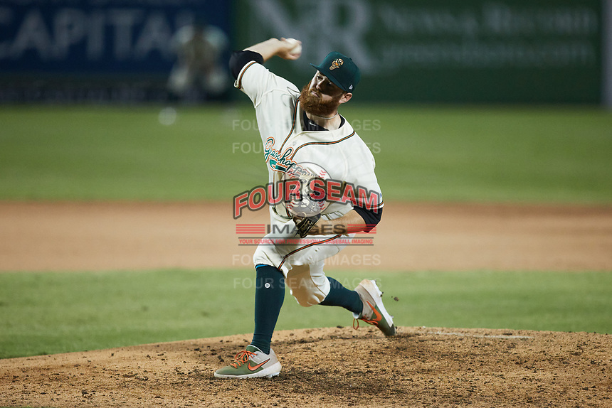 Greensboro Grasshoppers relief pitcher Colin Selby (48) in action against the Wilmington Blue Rocks at First National Bank Field on May 25, 2021 in Greensboro, North Carolina. (Brian Westerholt/Four Seam Images)