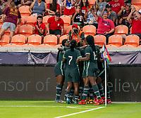HOUSTON, TX - JUNE 13: Rasheedat Ajibade #15 of Nigeria celebrates during a game between Nigeria and Portugal at BBVA Stadium on June 13, 2021 in Houston, Texas.