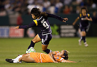 LA Sol' s Han Duan attempts to move around Sky Blue's Megan Schnur. The LA Sol defeated Sky Blue FC 1-0 at Home Depot Center stadium in Carson, California on Friday May 15, 2009.   .