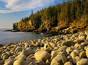 Otter Cliff from Boulder Beach at Acadia National Park on Mount Desert Island in Maine. Acadia National Park was the first established national park east of the Mississippi River.